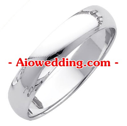 14K White Gold 4mm Plain Wedding Band Ring for Men & Women