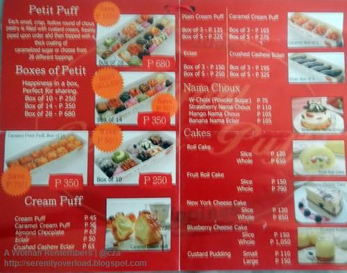 Happy_Cream_Puff_menu, Happy Cream Puff, food, Shangrila Plaza East Wing