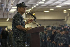 Adm. Harry Harris addresses the crew of USS Nimitz (CVN 68) during an all-hands call. (U.S. Navy/MCSA Kole E. Carpenter)