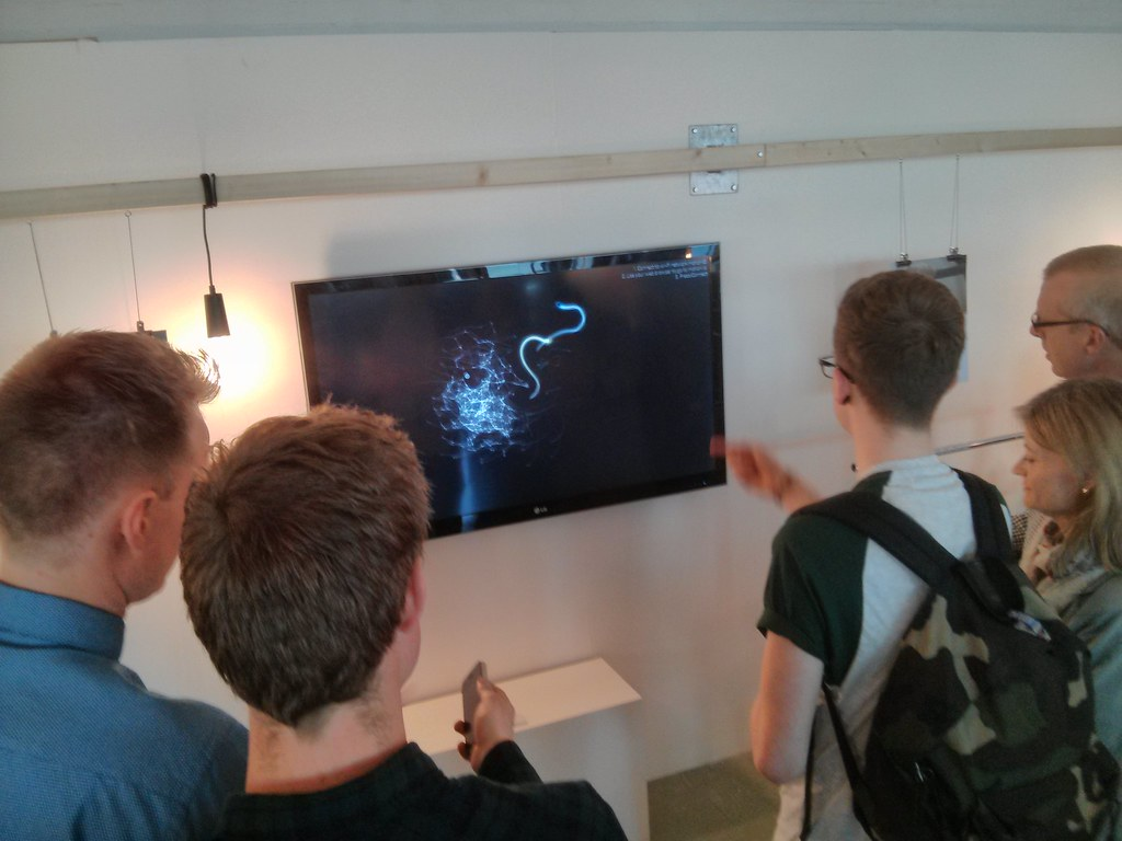People using MotionIO at the 2014 DJCAD Degree Show opening night