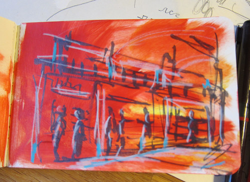 Moleskine Art Plus sketch album test: marker on acrylic paint ground