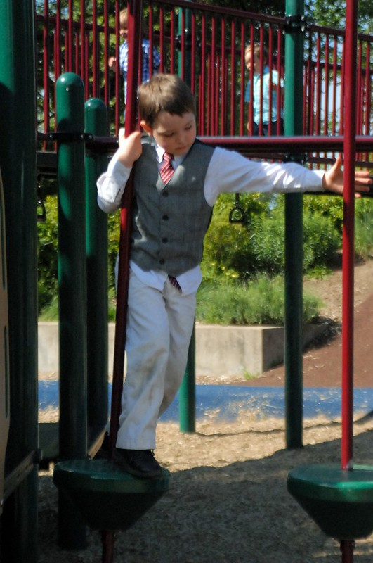 boy dressed up at playground