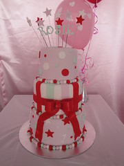 Three tier, double height, pink and red