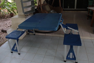 Camping table that folds into a case that is only 33 inches in width and 12.5 in tall 900b