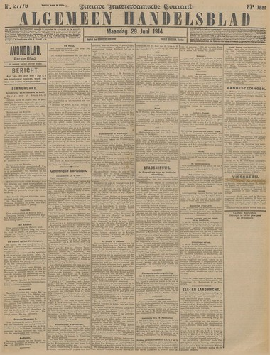 Algemeen Handelsblad, 29 Juni 1914 (Collection National Library of the Netherlands)
