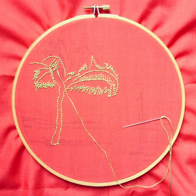 July's #airembroideryclub project in progress. A stitch here, a stitch there while the baby sleeps. #embroidery