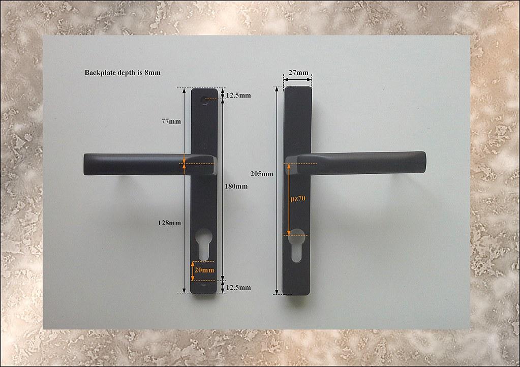 Old style hoppe ferco pz70 black handles for upvc door for Upvc french door lock replacement