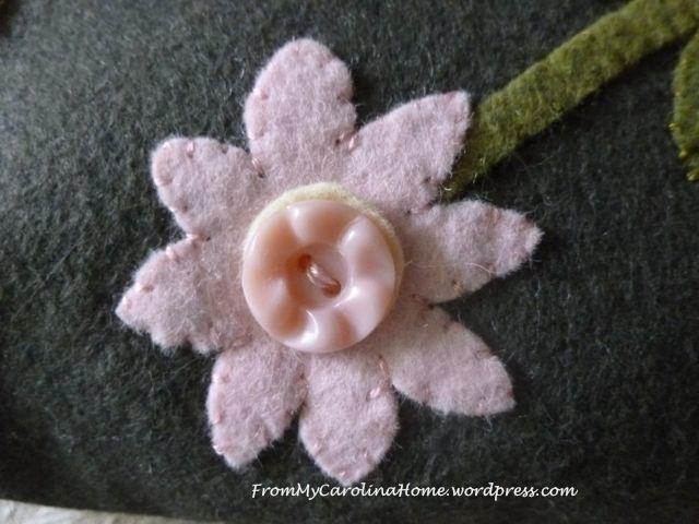 Spring Basket Wool Pink Button