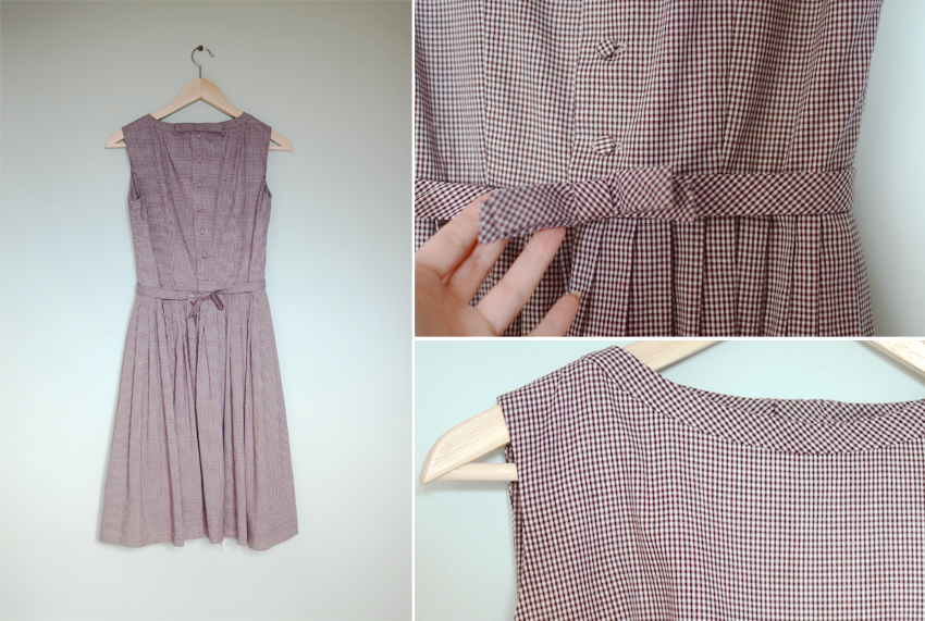 brown-gingham-bow-dress-1960s c