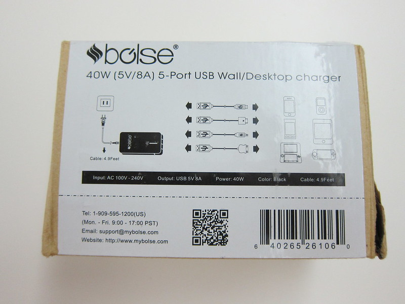 Bolse 40W (5V/8A) 5-Port USB Wall/Desktop Charger - Box