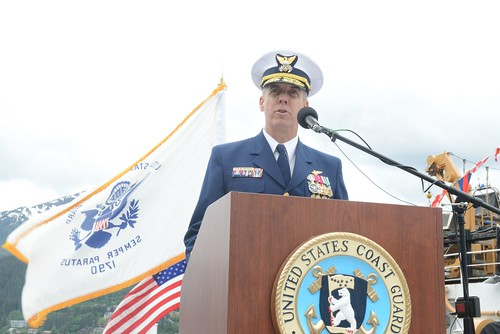 Coast Guard Rear Adm. Daniel Abel addresses attendees of the 17th District change of command ceremony at Station Juneau in Juneau, Alaska, June 12, 2014. Abel previously served as district commander of the Coast Guard 1st District in Boston, Mass. U.S. Coast Guard photo by Petty Officer 1st Class Shawn Eggert.