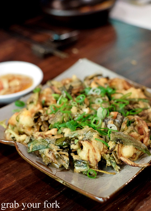 Haemul pajeon seafood pancake at Kim Restaurant, Potts Point