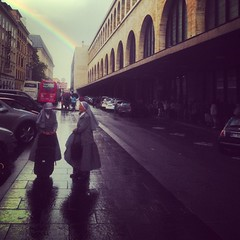 Rainbow, nuns, train station #Rome