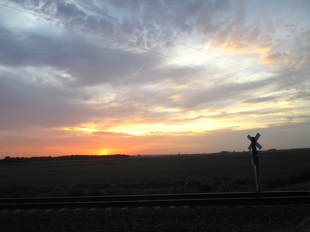 A view of the sunset by the tracks we cut by