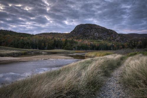 travel autumn sunset vacation fall leaves landscape nationalpark nikon unitedstates outdoor hiking path maine trail beehive hdr acadia barharbor hikingtrail d300 landscapephotography 18200mm photomatix