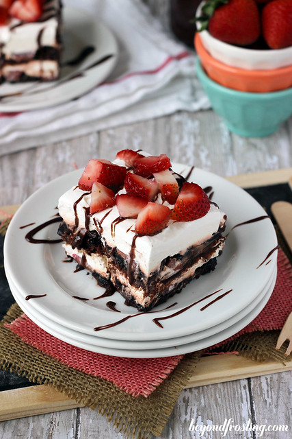 Brownie Brittle Strawberry Lasagna | beyondfrosting.com | #browniebrittle #iceboxcake