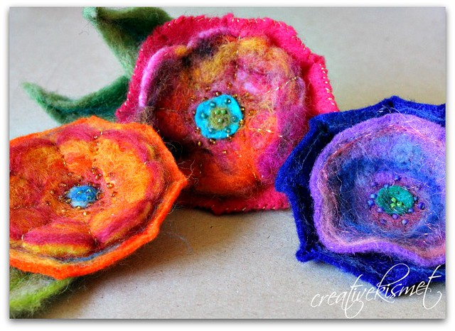 Needle Felted Flower Tutorial by Creative Kismet