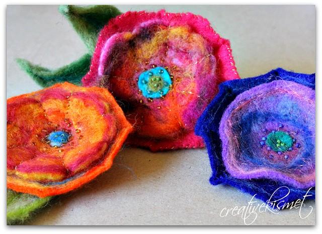 Needle Felted Flower Tutorial by Creative Kismet