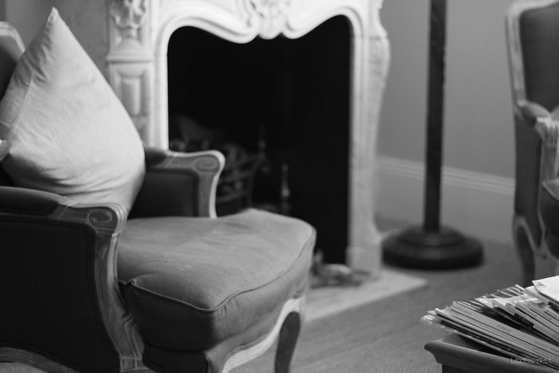 living room fireplace b&w