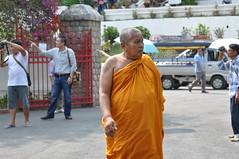 This elderly monk looks rather stern!