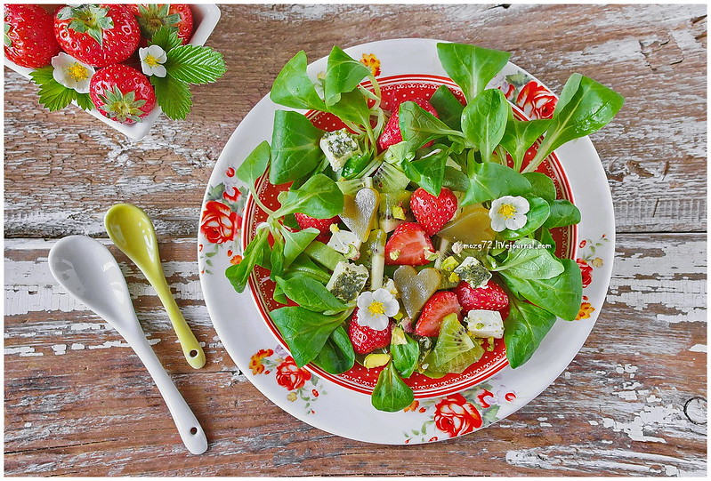 ...salad and strawberries