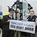 Justice Minister David Ford announcing TRACKER Initiative pictured (L-R) PSNI, Chief Constable, George Hamilton and David McClure from NFU Mutual