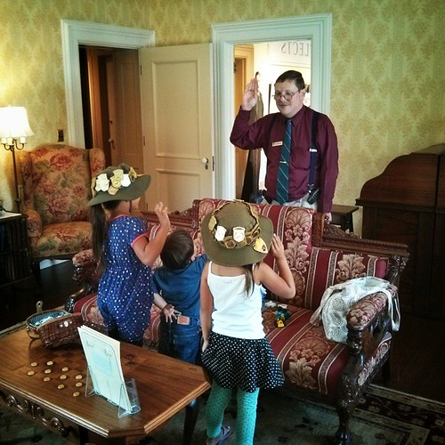 The girls took their junior ranger oath today to get their 60th badge in the same house that Theodore Roosevelt took his to become the 26th President of the United States.