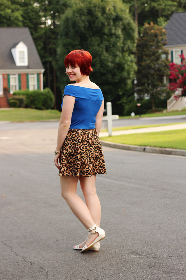 Leopard Print Skater Skirt, Blue Off the Shoulder Top, and White Sandals
