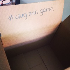 Box for things to be donated in the Minimalist Game this month. Check my FB page for details. #augmingame