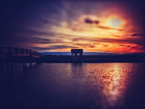 sunset iphoneography fineartphotography hollingsworth california silhouette shed bridge sun clouds stephenhollingsworth orange water landscape