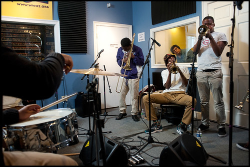 Edna Karr High School Brass Band at WWOZ:  Desmond Bemiss, Deon Butler, Brendan Smith. Photo by Ryan Hodgson-Rigsbee www.rhrphoto.com