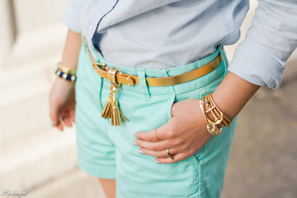 chambray shirt, turquoise shorts-3.jpg