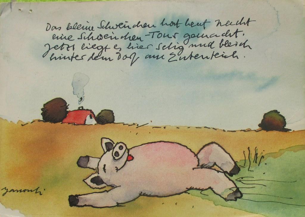 cheerful piglet kleines Ferkelchen Ansichtskarte