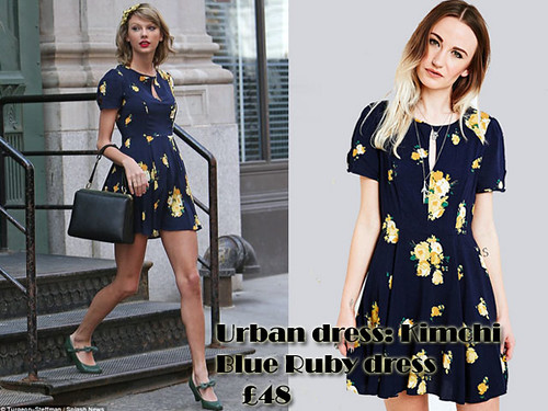 Taylor Swift in Urban Outfitters Kimchi Blue Ruby dress