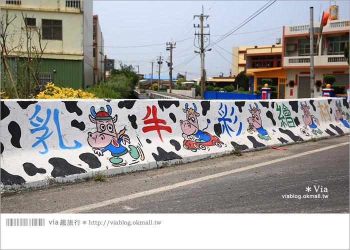 【彰化景點推薦】乳牛彩繪村(福寶村)~數百頭彩色小牛+夢幻藍晒圖的彩色村4