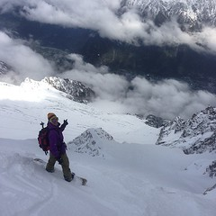 Today we rode deep and steep. It was awesome! This is my pilates instructor about to drop into Glacier Rond.