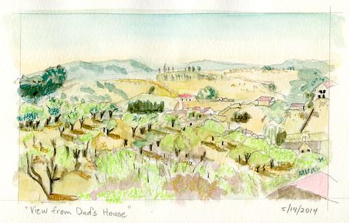 california trees moleskine watercolor landscape sketch hills neocolor