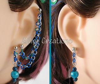 Blue Double Pierced Cartilage Chain Earrings