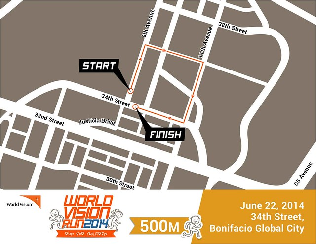 World Vision Run 2014 500m race map