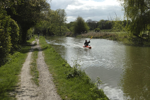 Canoeing on the Grand Union Canal, Milton Keynes.