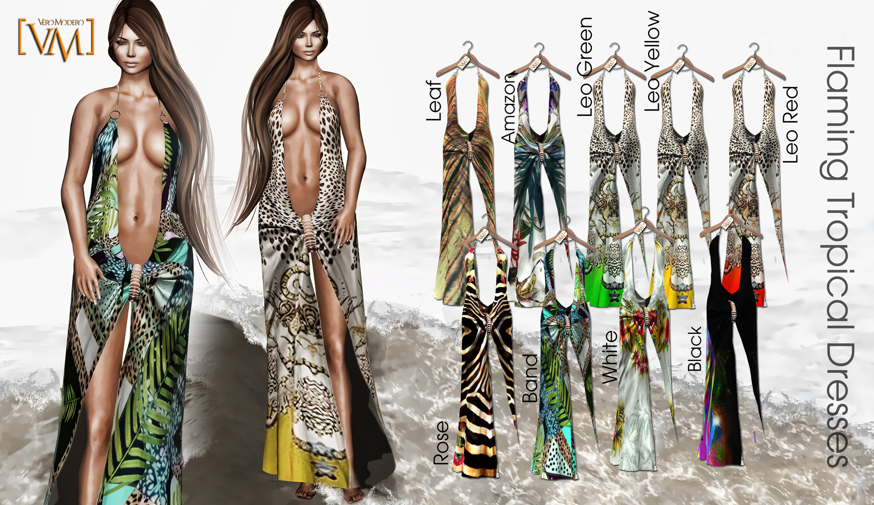 [VM] VERO MODERO  Flaming Tropical Dresses All Patterns