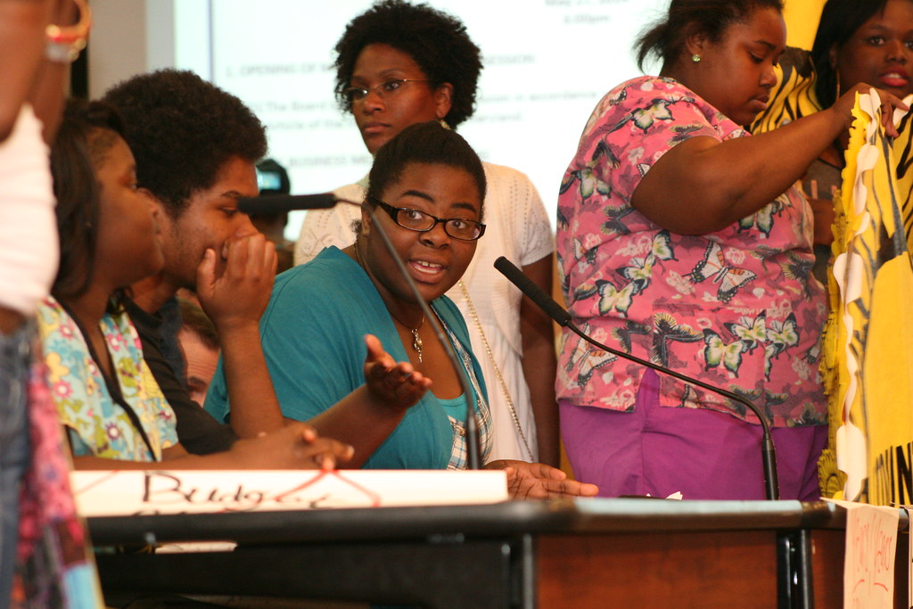 Destiny Watford delivering speech at School Board - click to read