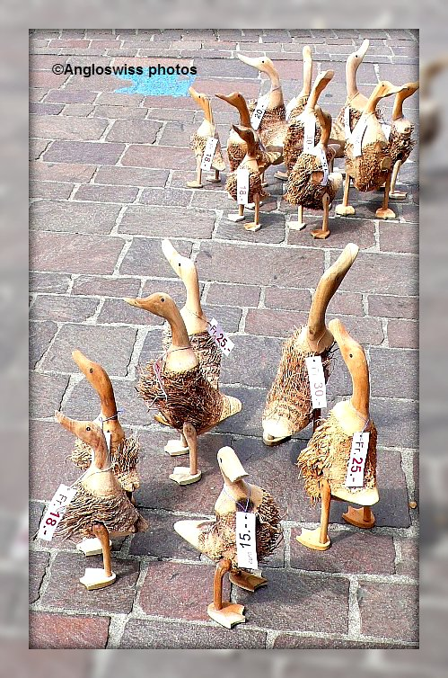 Ducks for sale outside shop in Solothurn