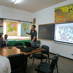 Andrew gives a presentation on the team's preliminary findings at the environmental ministry in Paramaribo. Photo by Fabian Michelangeli.