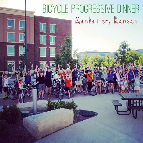 Great people on the Bike Progressive Dinner. Plus more than willing to throw their hands up. #mhk #manhattanks #bikemonth