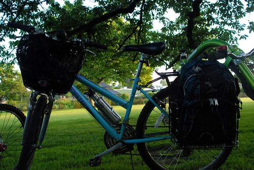 Mountain Bike with Backpack Baskets