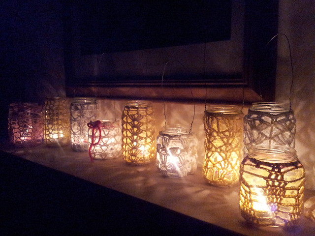 Recycled jars crochet lanterns