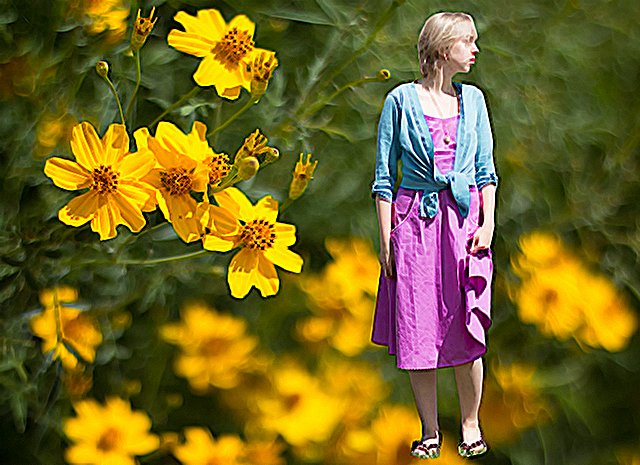 blue cardigan tied at the waist, pastel fuchsia eShakti dress