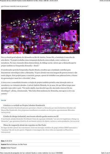 Projeções de luz colorem favela e Cristo Redentor no Rio | Artes | DW.DE | 16.05.2014-3