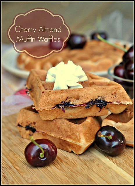 Cherry Almond Muffin Waffles 1